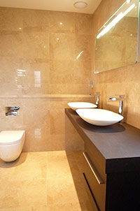 Wet Room with Twin Raised Sinks.
