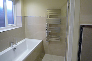 Bathroom with Sunken Shower Cabinet.
